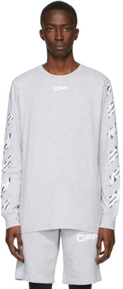 Off-White Grey Airport Tape Long Sleeve T-Shirt