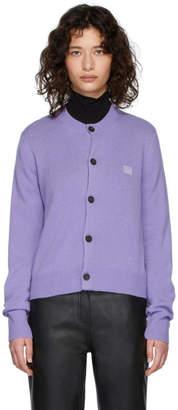 Acne Studios Purple Wool Keva Face Cardigan