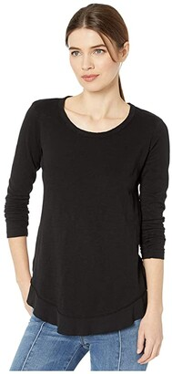 bobi Los Angeles Long Sleeve Curved Hem Top in Slubbed Jersey (Black) Women's Clothing