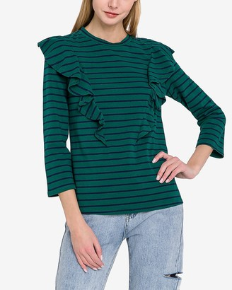 Express English Factory Striped Ruffle Tee