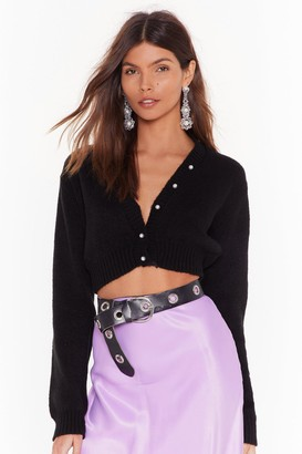 Nasty Gal Womens Pearl Up With Me Cropped Cardigan - black - S