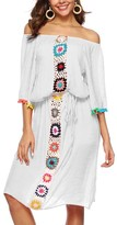 Look Fashion Women's Swimsuit Coverups White - White Crochet-Accent Off-Shoulder Cover-Up