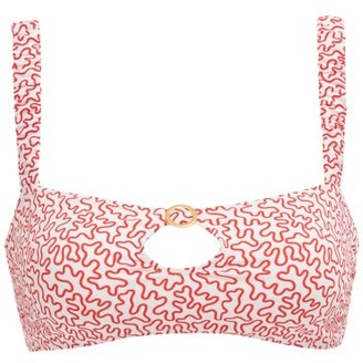 Fisch Carambole Cutout Abstract-print Bikini Top - Womens - Red Print