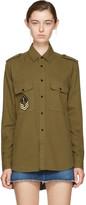 Saint Laurent Khaki Oversized Military Patch Shirt