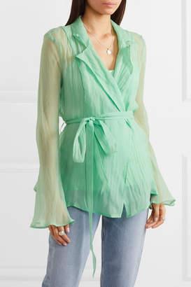 Maggie Marilyn Net Sustain Silk-organza Wrap Shirt - Green