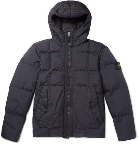 Stone Island Garment-Dyed Quilted Nylon Hooded Down Jacket