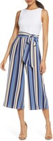 Vince Camuto Stripe Mixed Media Crop Jumpsuit