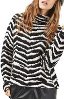 Topshop Zebra Funnel Neck Sweater
