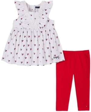 Tommy Hilfiger Little Girls Hearts Printed Poplin Tunic with Legging, Two Piece Set