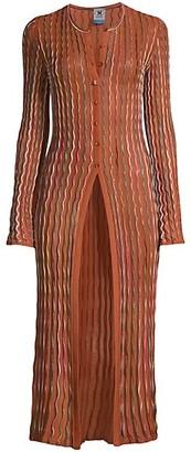 M Missoni Sequin Stripe Knit Longline Cardigan