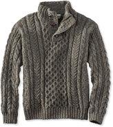 L.L. Bean Irish Fishermans Sweater, Button-Mock
