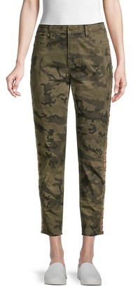 Driftwood Jackie High-Rise Embroidered Camo Ankle Jeans