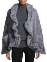 Adrienne Landau Mink Fur Knit Wrap w/Pockets