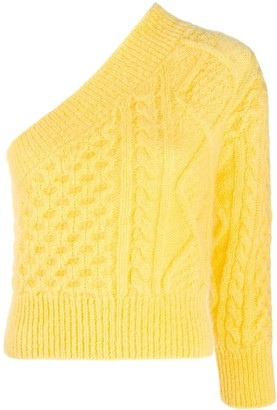 Laneus Cable-Knit One-Shoulder Jumper