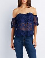 Charlotte Russe Lace Sweetheart Off-The-Shoulder Top