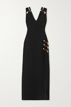 Versace Embellished Cutout Silk-crepe Gown - Black