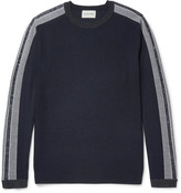 Solid Homme - Slim-fit Stripe-trimmed Wool Sweater