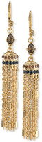 Carolee Gold-Tone Crystal Enhanced Tassel Drop Earrings