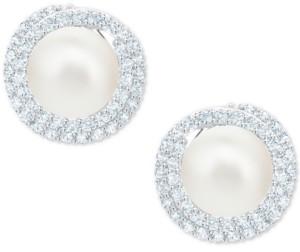 Swarovski Silver-Tone Pave & Imitation Pearl Stud Earrings