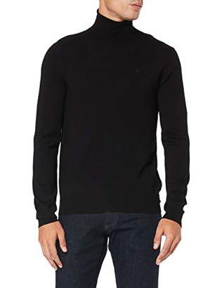Trussardi Jeans Men's Turtleneck Slim Fit Ribs Visco Jumper, Black K299, X-Large