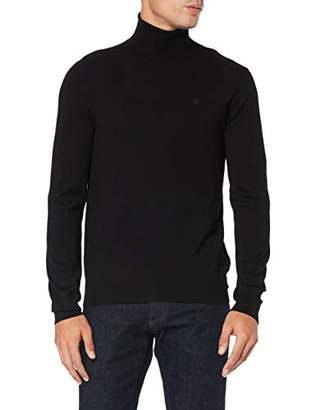 Trussardi Jeans Men's Turtleneck Slim Fit Ribs Visco Jumper, (Black K299), XX-Large
