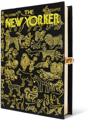 Olympia Le-Tan Olympia Le Tan The New Yorker Appliqued Embroidered Canvas Clutch - Black
