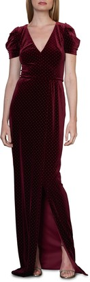 ML Monique Lhuillier Studded Velvet Gown