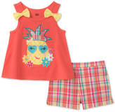 Kids Headquarters 2-Pc. Graphic-Print Top & Plaid Shorts Set, Baby Girls