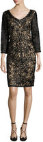 Sue Wong 3/4-Sleeve Embroidered Sheath Dress, Black