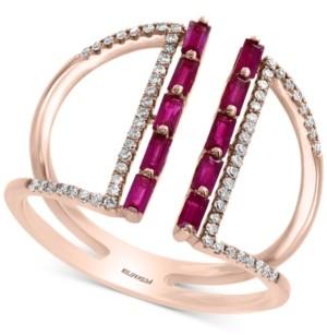 Effy Ruby (1/2 ct. t.w.) & Diamond (1/5 ct. t.w.) Statement Ring in 14k Rose Gold
