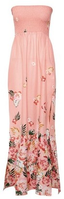 Dorothy Perkins Womens Pink Topical Print Boarder Shirred Maxi Dress