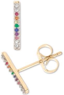 Elsie May Lab-Created Multi-Gemstone Vertical Bar Stud Earrings (1/20 ct. t.w.) in 18k Gold-Plated Sterling Silver