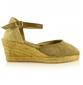 Toni Pons Taupe Lloret 5 Suede Wedge Espadrille Shoes - 36 - Brown/Green