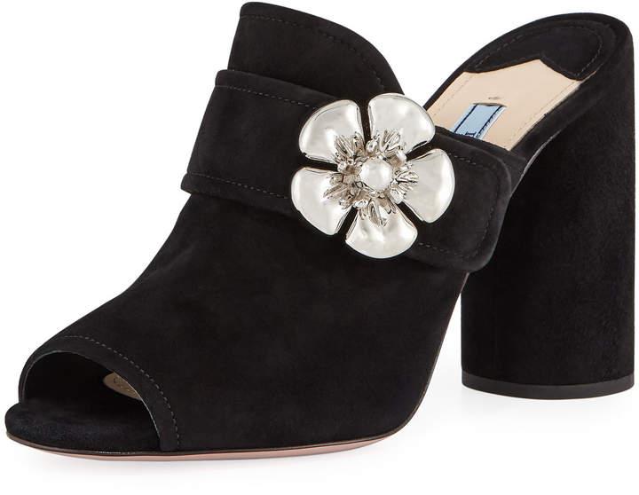 Prada Flower-Strap Suede 100mm Mule Sandal