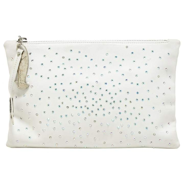 Giuseppe Zanotti White Leather Clutch Bag