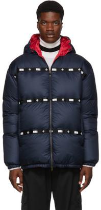 Mr & Mrs Italy Navy Satin Puffer Jacket