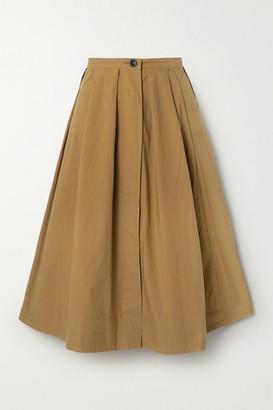 Alex Mill Pleated Cotton-poplin Midi Skirt - Brown