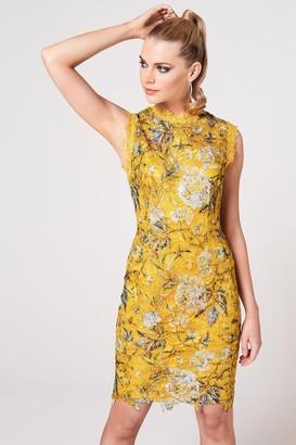 Paper Dolls Taro Mustard Floral-Print Crochet Lace Dress