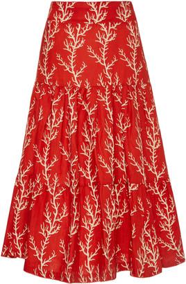Agua Bendita Arrecife Anis Printed Linen Midi Skirt