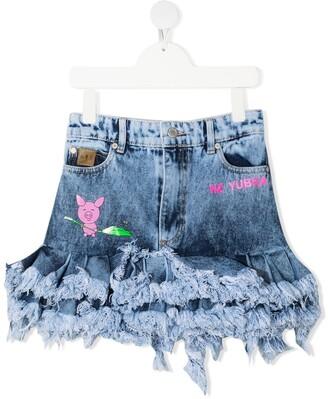 Natasha Zinko Kids Ruffled Denim Skirt