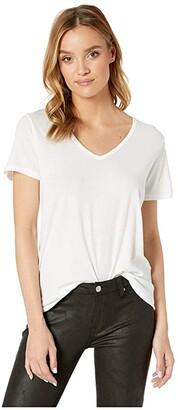 Michael Stars Skyler Ultra Jersey Relaxed V-Neck Tee (White) Women's Clothing