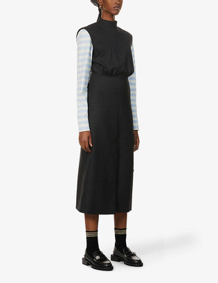 Ganni Suiting wool-blend midi dress