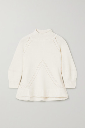 Apiece Apart Victoria Pointelle-trimmed Alpaca-blend Sweater - Off-white