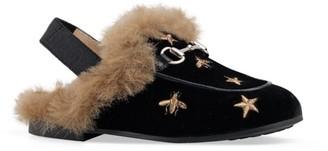 Gucci Kid's Princetown Faux Fur Mules