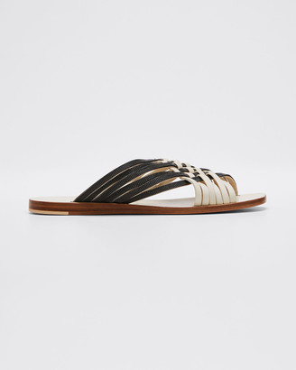 Brunello Cucinelli Monili and Leather Woven Slide Sandals