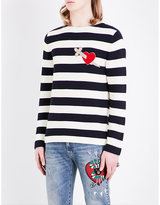 Gucci Heart-appliqué Knitted Cotton Jumper