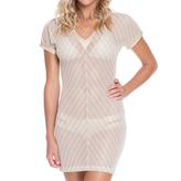 Luli Fama Vneck Body-Con Dress In White (L469959)