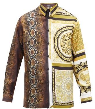 Versace Snake & Baroque-print Silk-faille Shirt - Brown