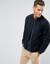 Jack Wills Bomber Jacket In Wool Black