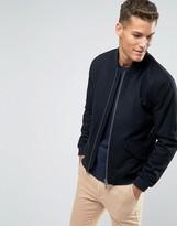 Jack Wills Bomber Jacket In Wool Black